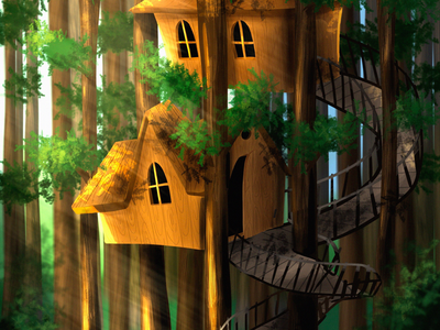 Home away from home woods forest illustration treehouse