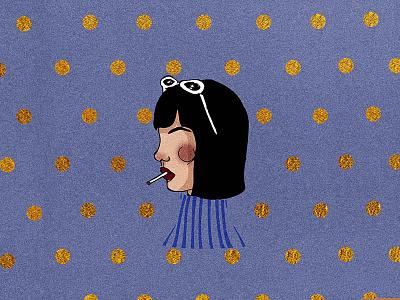 Retrouvailles... cigarette metallic gold stripes polka dots illustration drawing