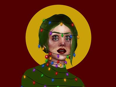 Holiday Spirit portrait woman drawing illustrations christmas lights illustration holiday