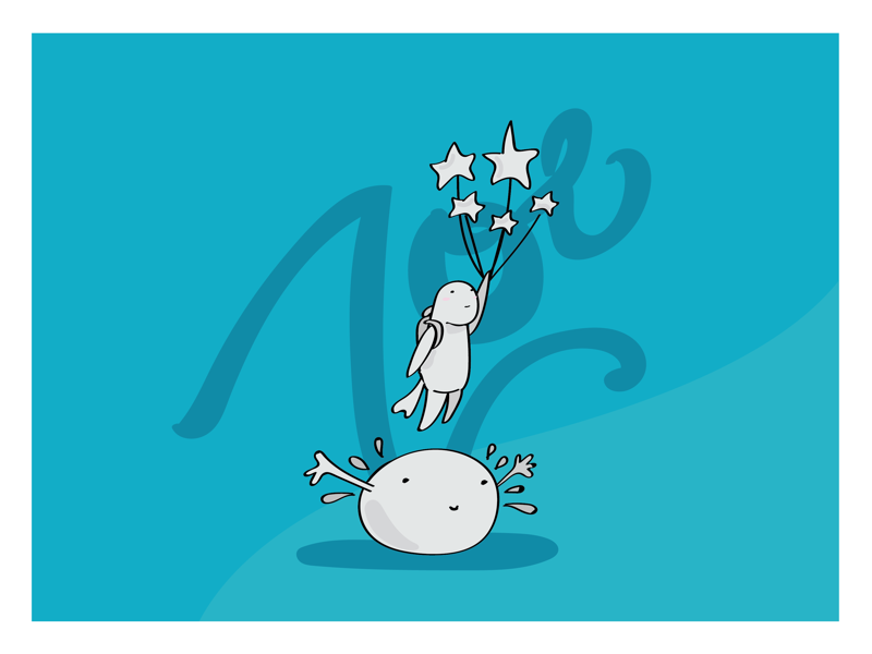 Dreaming book design stars vector art dreams 2d character vector illustrator kids