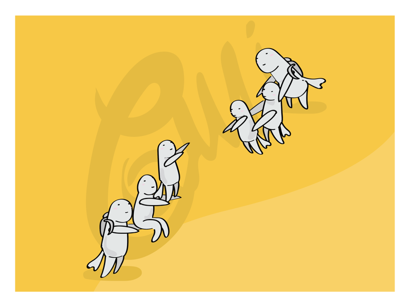 Does it rise or fall? yellow book design storytelling character vector art illustrator illustration