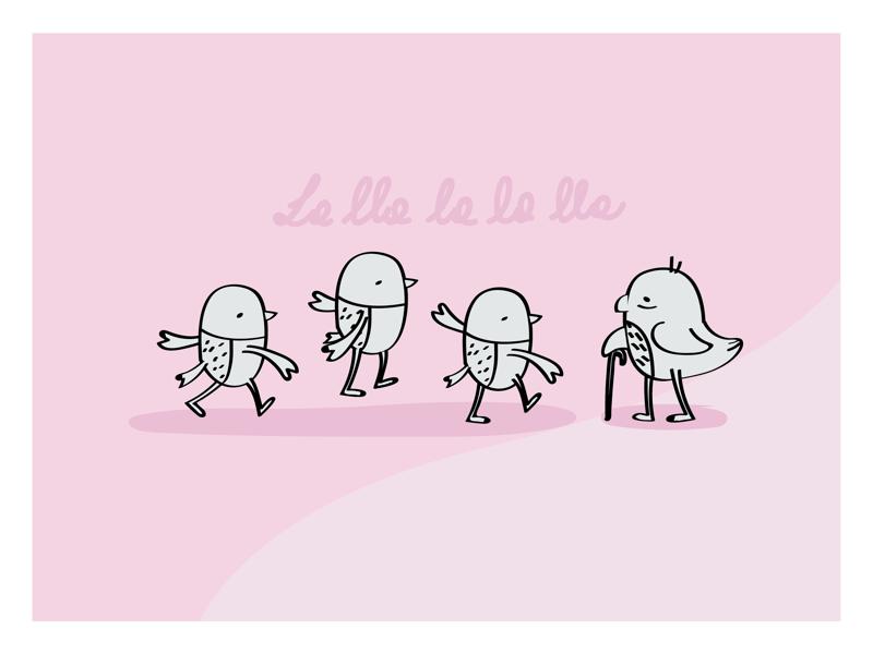 Nursery birds baby birds characters rose vector art kids illustrator illustration