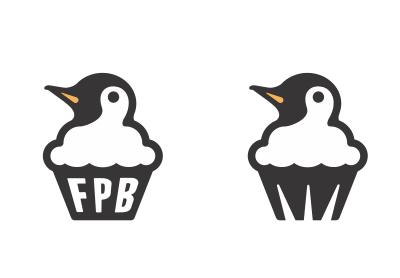 Fat Penguin Bakery logo penguin icon cupcake bakery black