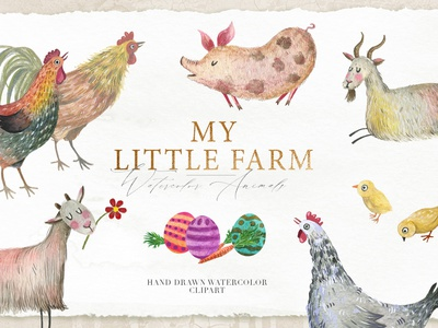 Little Farm Watercolor Clipart colorful scrapbook funny character cute animals invitation set watercolor painting hand draw art kids illustration scrapbooking decorative illustration farming watercolor animals bunny easter egg easter watercolor clipart farm animals