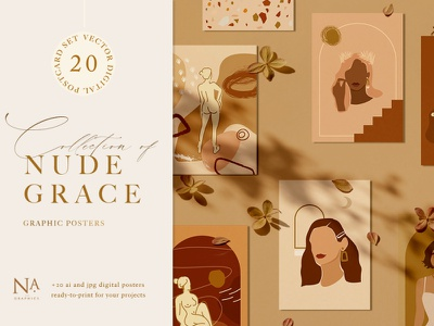 Nude Grace Modern Vector Set clipart vector seamless pattern illustration contemporary instagram stories artboard instagram posts chancery beautiful illustration package design woman abstract postcards modern branding print frame interior