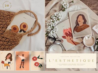 L'esthetique Modern Postcard Set brand stylish modern style pastel trendy womanly feminine stationery invitation package modern illustartion printable planner branding vector decorative illustration design