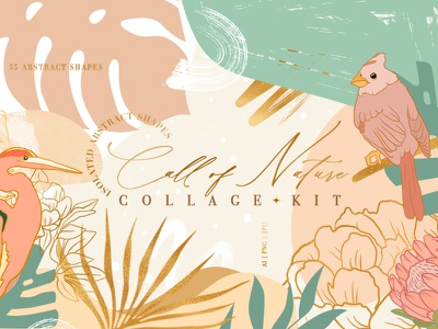 Call of Nature Collage Kit creative decor collage birds flowers seamlesspattern clipart branding vector decorative texture abstract illustration