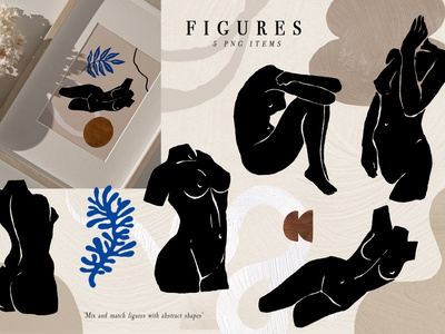 Ode to a woman Postcard Set decor handmade textures fashion girl female woman body stylish trendy abstract face woman figures aesthetic illustrations creator collage printable postcard set modern abstract shapes line art