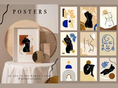 20 Postcard Set girl woman body stylish trendy abstract face woman figures aesthetic poster woman female print paper modern branding decorative texture background abstract illustration design