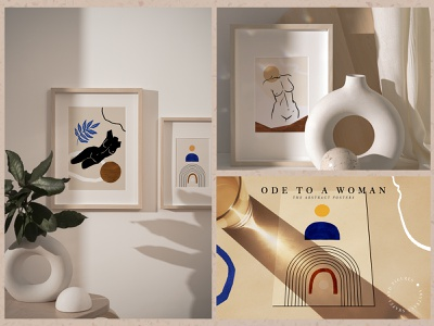 20 Pre-made Posters decor handmade textures fashion girl female woman body stylish trendy abstract face woman figures aesthetic illustrations creator collage printable postcard set modern abstract shapes line art