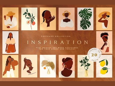 Inspiration Postcard Collection modern abstract design poster art female womanly wall art postcard feminine branding vector decorative abstract illustration design