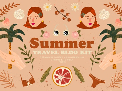 Summer Travel Blog Kit abstract vector vacation summer stylish seamless pattern poster modern instagram stories instagram posts illustration holiday flat decorative cute contemporary clip branding artboard art