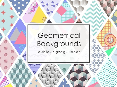 Geometrical Backgrounds bright texture simple memphis linear zigzag cubic geometrical flat vector background