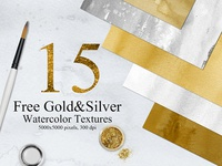 15 Free Gold & Silver Watercolor Backgrounds