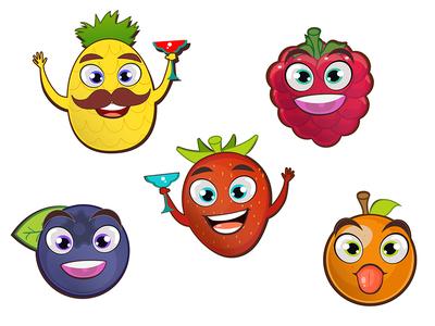 Vector summer fruits