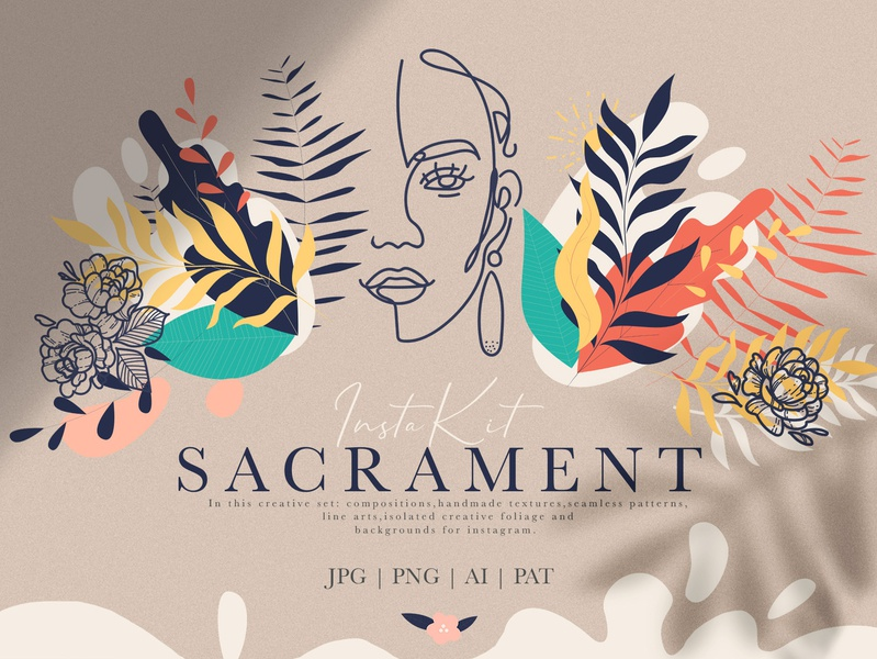 Sacrament Insta Kit clip art foliage line art illustrator instagram wrapping paper icon art abstract design typography branding vector paint illustration colorful decorative background texture logo