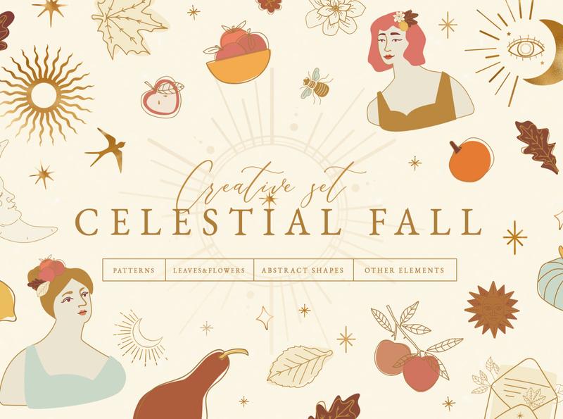 Celestial Fall Graphic Set arty artisan art background abstract clip art halloween star seasonal vector autumn mood autumn color highlight cards girl sun celestial leaves autumn fall