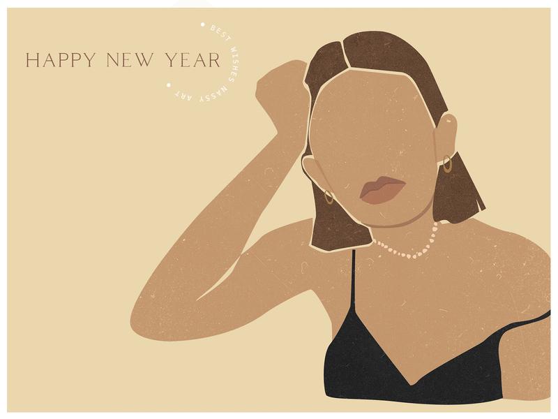NY girls card paper branding modern art vector girl illustration abstract texture background design