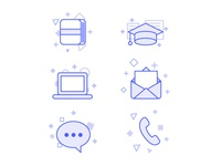 Set of icons for Benchmark Email projects.