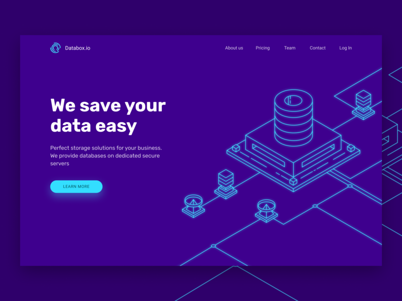 Homepage design visual it services technology blue neon isometric outline illustration graphic design