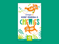 Omega-3 Chewies Packaging! jungle illustration logo lettering packaging omega-3 chewies vitamins monkey