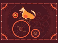 This is a corgi on a penny-farthing.