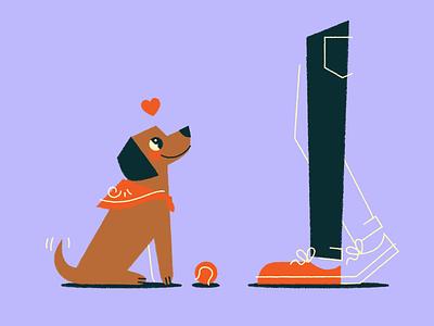 ball plz I luv u ❤️ tennis ball walk illustration fetch love puppy ball dog