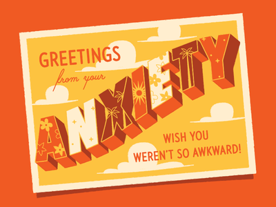 Greetings! travel mental health travel postcard typography illustration awkward wish you were here anxiety postcard greetings