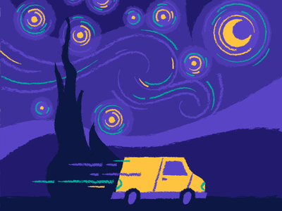 Van Gogh truck illustration vincent van gogh moon van dad joke pun starry night van gogh
