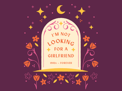 I'm not looking for a girlfriend men dating roses flowers typography illustration gravestone grave tombstone girlfriend