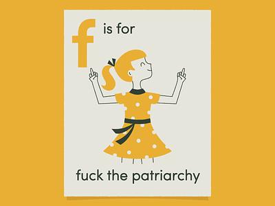 F is for… the finger vintage illustration character design character art girl school mid century vintage illustration patriarchy