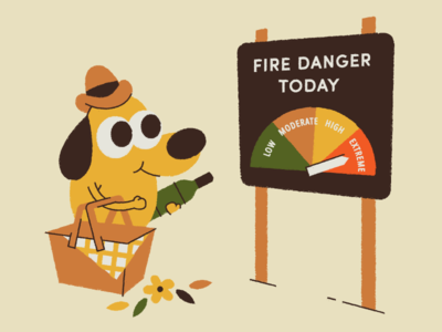 What a lovely day for a picnic! danger cowboy hat illustration forest fire fire dog wine picnic this is fine