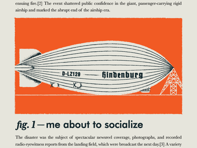 Impending disaster typography illustration blackletter social anxiety germany german airship blimp disaster hindenburg