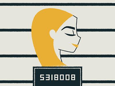 Inmate No. 5318008 illustration boobies boobs portrait woman calculator prison jail mugshot