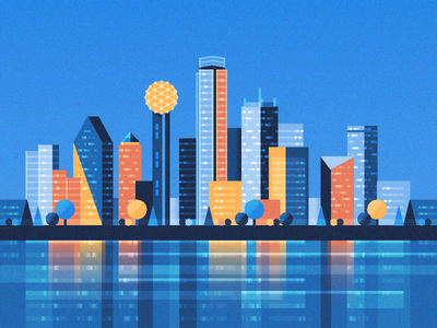 Dallas Skyline skyscraper trees illustration city opendoor skyline texas dallas