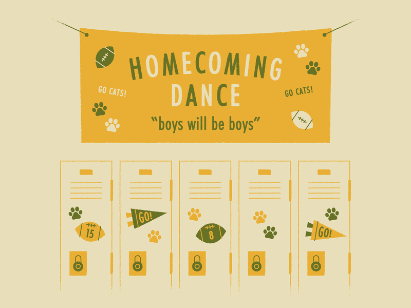Boys will be boys kavanaugh typography illustration pennant lockers football boys boys will be boys high school homecoming