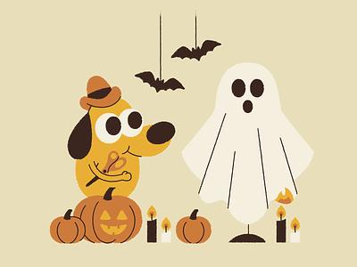 Costume's finished! scissors jack-o-lantern illustration fire bats pumpkin costume ghost halloween dog this is fine
