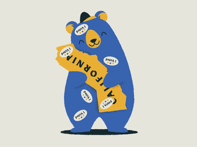 I can bearly contain my excitement for voting i voted baseball hat sticker typography illustration hug california bear california election day vote bear