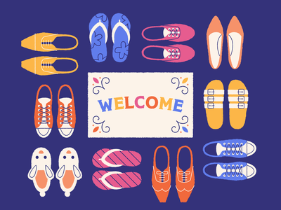 Inclusive Content help scout flip flops sneakers slippers welcome mat typography illustration shoes diversity inclusive welcome