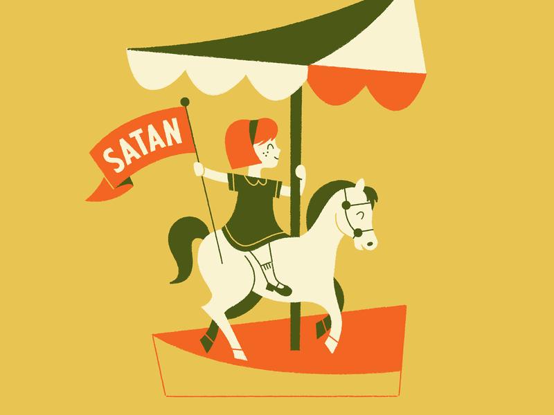 😈 typography character design character art mid century illustration flag carnival horse carousel satan