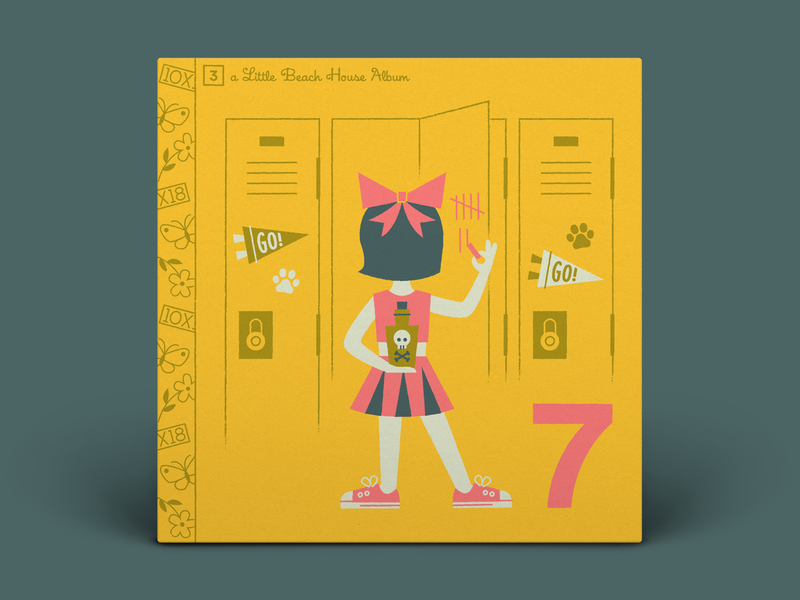 03. Beach House — 7 album art skull character art sneakers converse pennant murder poison cheerleader high school lockers typography illustration 10x18