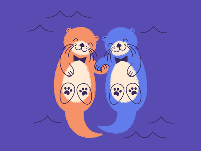 Otter buds <3 bowtie character art floating whiskers friendship love friends buddies water illustration paws holding hands hands bow tie otter