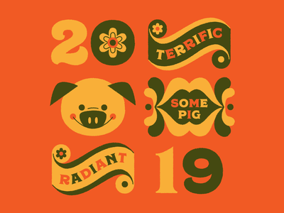 Year of the Pig year of the pig new year 2019 typography illustration retro 70s pig charlottes web chinese new year lunar new year