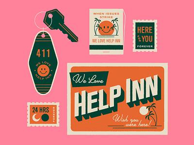 We love Help Inn! ephemera dad jokes puns key ilustration palm trees stamp postcard travel typography hotel key motel hotel help scout