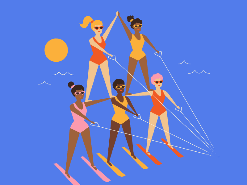 Ladies supporting each other in 2019 character art swimsuit elevate support feminism women illustration ladies summer sunglasses teamwork team water skiing