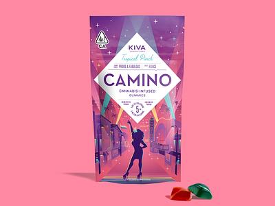 Camino Pride gummies rainbow fabulous san francisco castro edibles weed marijuana cannabis kiva pride drag queen illustration packaging gummies