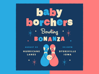 Baby Borchers bowling pin typography invite invitation illustration mid-century modern retro baby shower bowling baby