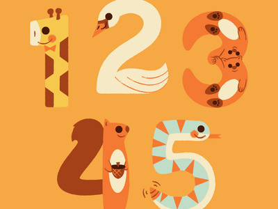 Animal Numbers! stickers illustration animals baby lettering typography numbers zoo giraffe snake squirrel otter swan