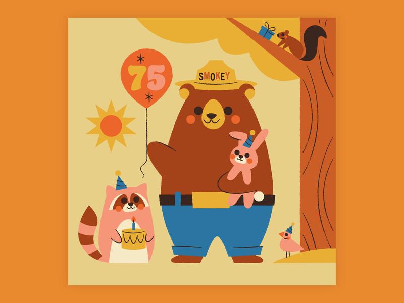Happy 75th, Smokey! illustration balloon bear party rabbit bunny bird birthday party squirrel raccoon forest birthday smokey the bear smokey bear