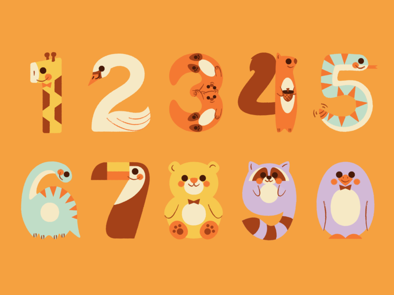 Precious App Animal Stickers — Full Set! illustration baby stickers numbers teddy bear penguin raccoon bear toucan dinosaur snake squirrel otter swan giraffe